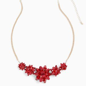 Torrid Christmas Metal Ribbon Bow Necklace Red